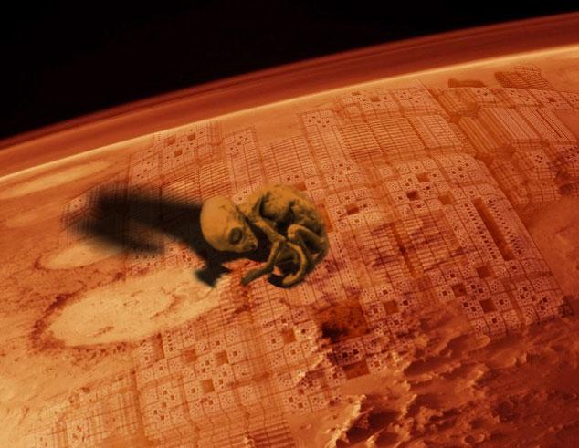 Aliens on mars photoshopped