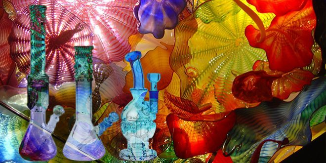 glaskunst bunt glas glasbongs